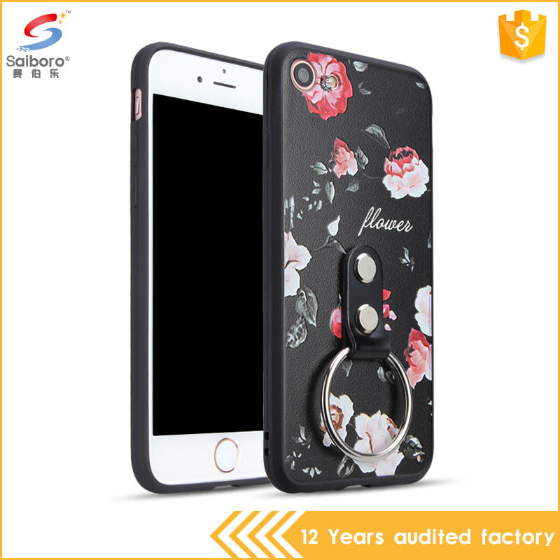 Ring Holder Flower Custom Pattern Phone Case For iphone 7 7plus