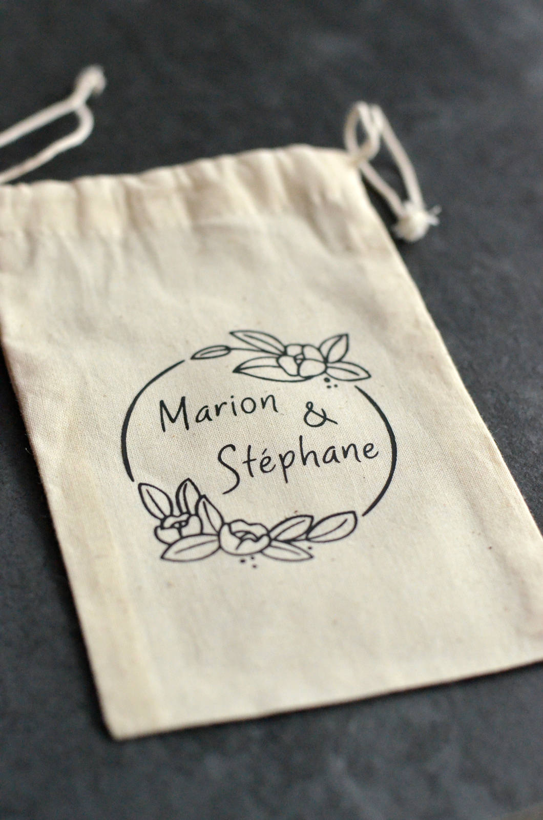 Custom wedding natural cotton gift pouch with name