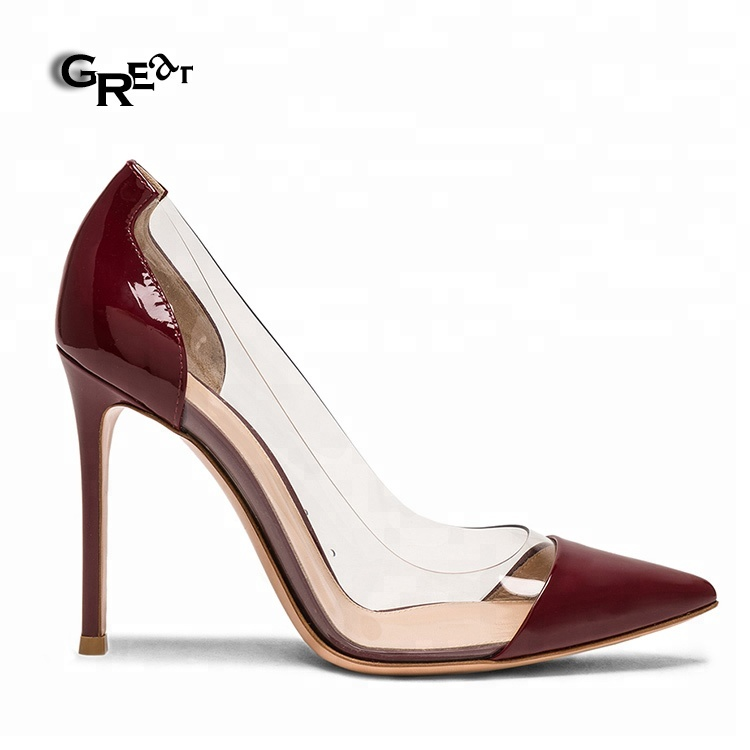 New Arrival Elegant Shoes PVC Pointed Toe Stiletto Clear High <strong>Heels</strong>