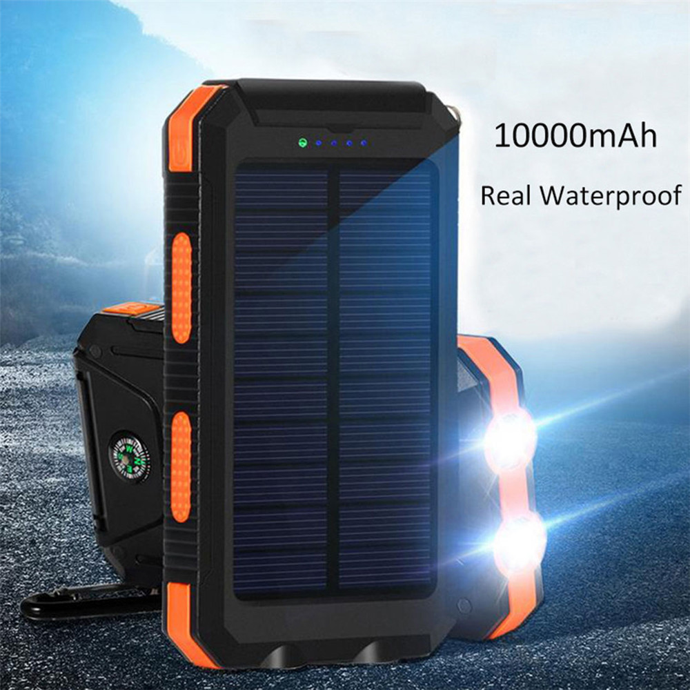Multifunction Outdoor sport waterproof dustproof Solar panel power bank 10000mah with compass and dual led flashlight torch