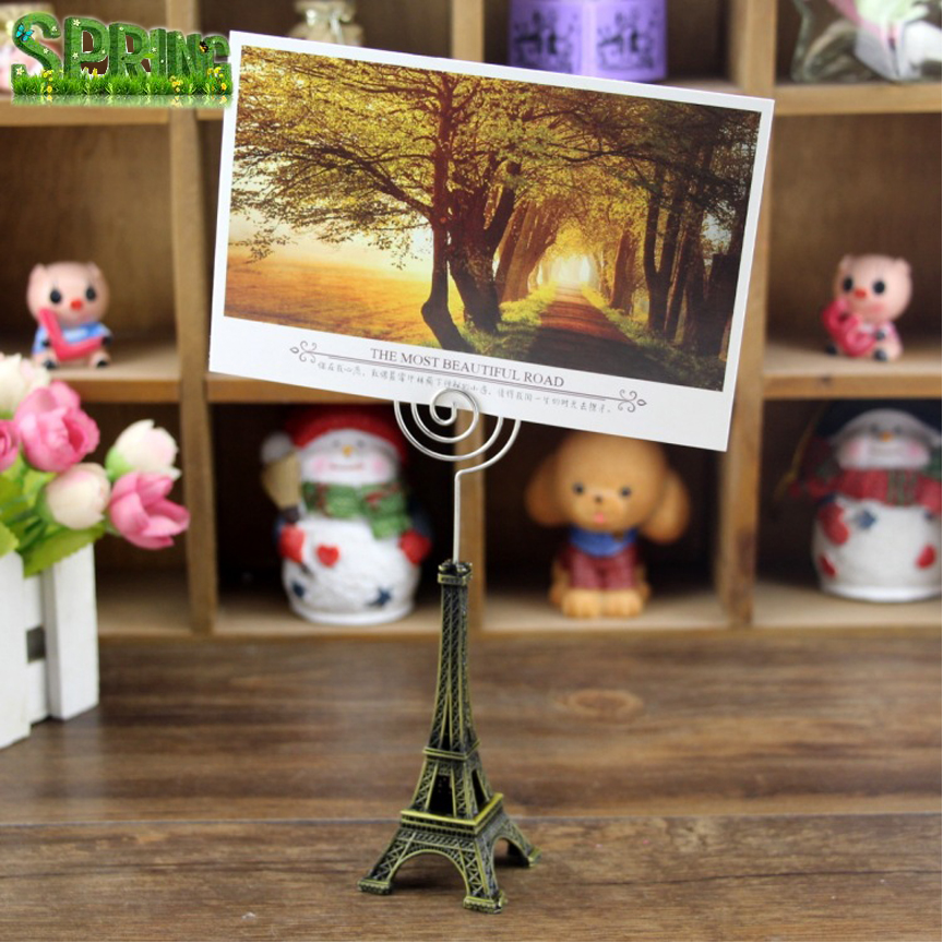 Zakka groceries creative gifts photo holder stand <strong>clips</strong> , Eiffel Tower crafts business card holder notes folder
