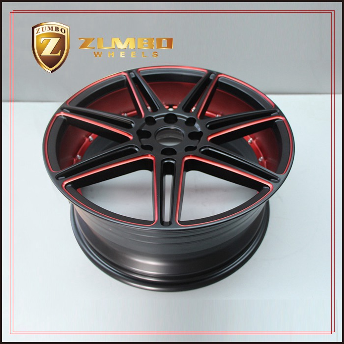ZUMBO S0038 Semi Matt Black Machine Inner Lip+Red Coating Replica Alloy Wheel Rims