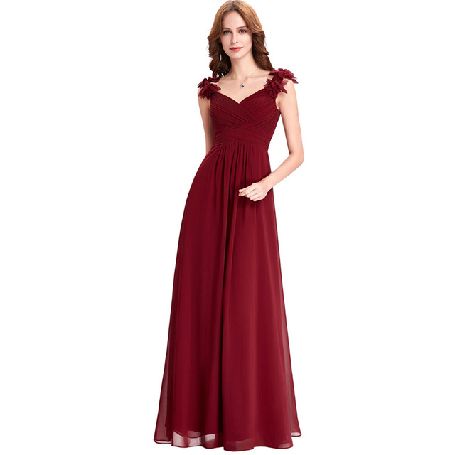 Natural Waistline Latest Style Pleat Chiffon Burgundy Prom Dress 2017