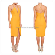 Latest fashion Casual party Dress Womens V Neck open fork Sexy bodycon Dress