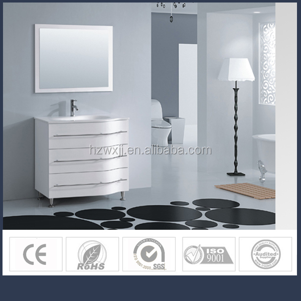 36-inch Bath Vanity with 3 Doors and tempered glass white