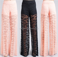CHEAP WOMEN sexy Floral Lace Mesh Summer Palazzo Long Maxi Pant FOR LADY