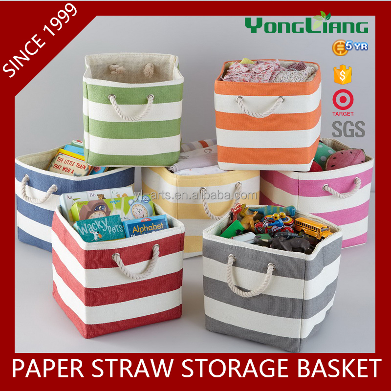 2016 new striped home paper straw folding storage basket