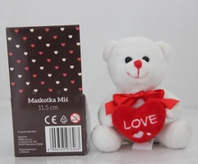CE and AZO approved 10cm white valentine teddy bear with heart