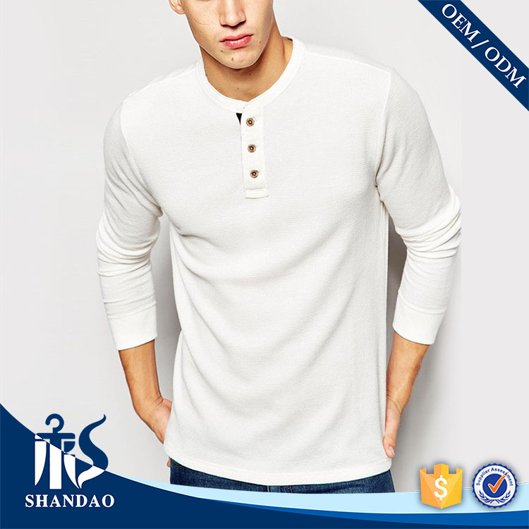 Shandao supplier art design plain autumn mens long sleeve o-neck slim fit 180g 100 cotton t shirt