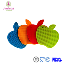 Apple-Shape Silicone Non-slip Potholder Mat/ holder for hot pot/grip pads to open jars