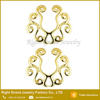 Gold Plated Vintage Tribal Floral Non-Pierce Fake Nipple Ring