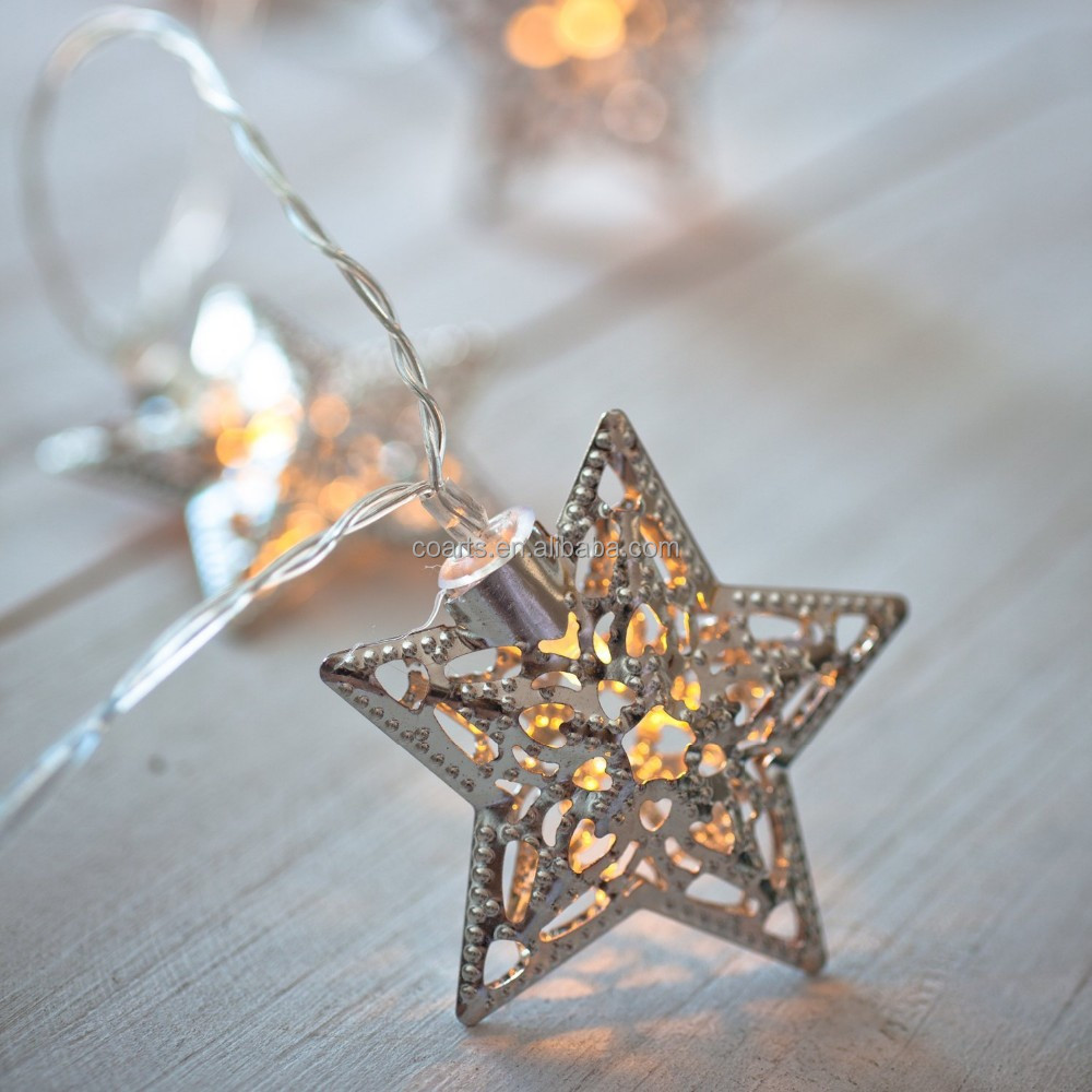 Christmas star light 10 Silver Star Battery Operated decoration lights