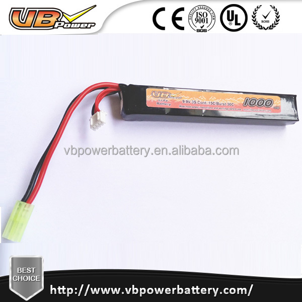 VB LiFePo4 Airsoft Battery 9.9V 1000mah 15C airsoft gun battery stick AK battery accept OEM logo