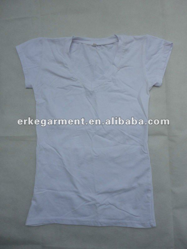 2012 Hot Selling 100% Cotton High Quality Woman Plain Blank White V-neck T-shirts Tops