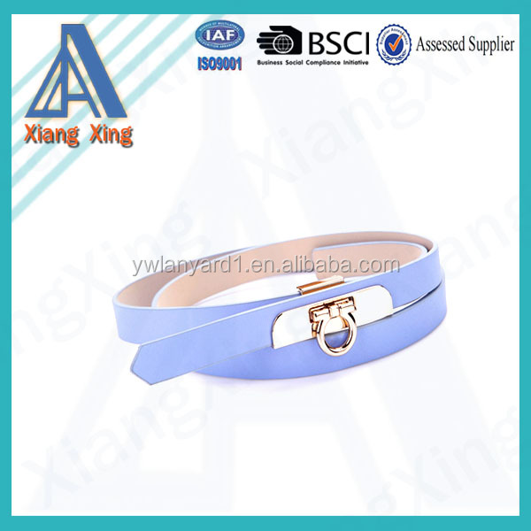 Fashion colorful ladies' simple skinny pu belt with pu covered buckle fashion belt for dressing