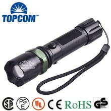 TopCom Presenting 3 W XML LED Fused With 3 Modes of Zoomable Rechargeable Target Flashlight