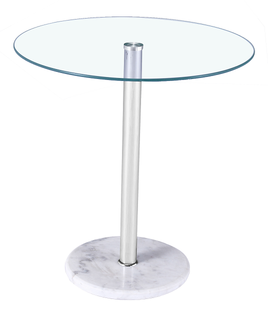 Round White Marble Base Tempered Glass Top Modern Side Table
