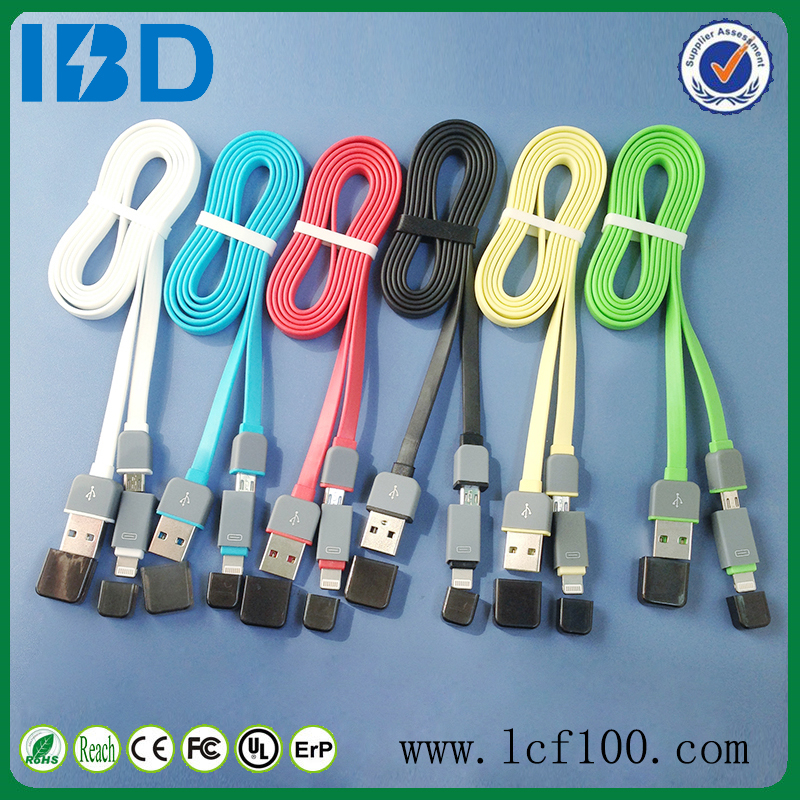 IBD high end usb charger cable, Colorful Flat Micro USB splitter cable for iPhone/Samsung/HTC