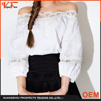 2016 Vogue Favo new pattern fashion design sexy off shoulder lace boat neck party shirt blouse for women