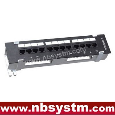 "12 port Wall Mounted UTP Cat5e Cat6 Patch Panel 10"" 1U, Krone or 110 Dual IDC"