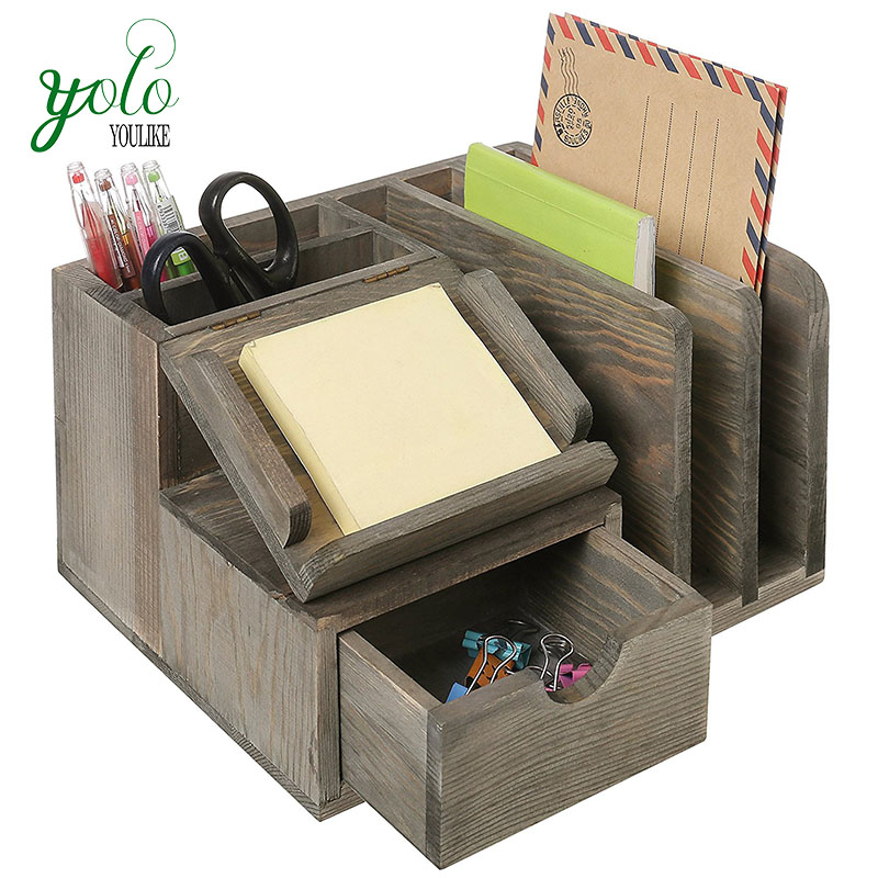 Rustic Wood Office Desktop Organizer