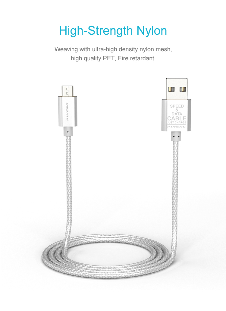 High strength nylon compatible android micro USB Speed Data Charging Cable