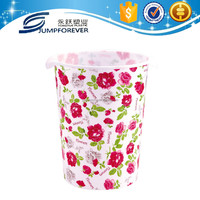 2016 Red Flower Home Decoration Promotion Gift Plastic Garbage Can