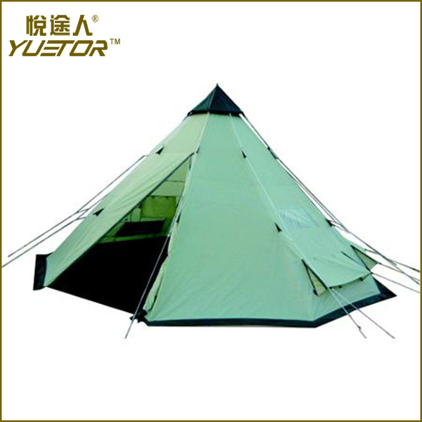 YUETOR aluminium frame pvc camping teepee tent with great price