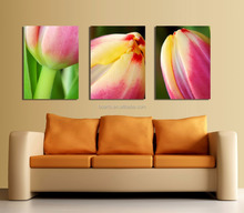 Printed Modern simple design Triptych tulip flowers oil painting on canvas