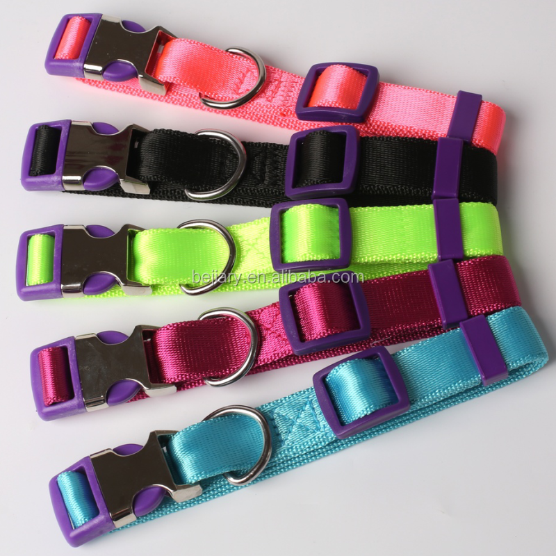 Nylon Dog Collar with quick release snap buckle, easy-On Adjustable pet Collar withmulticolor