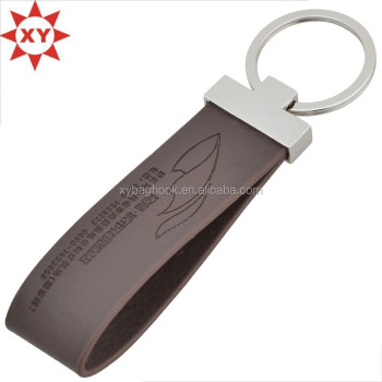 Business brown long PU leather key chain with engraving logo metal ring
