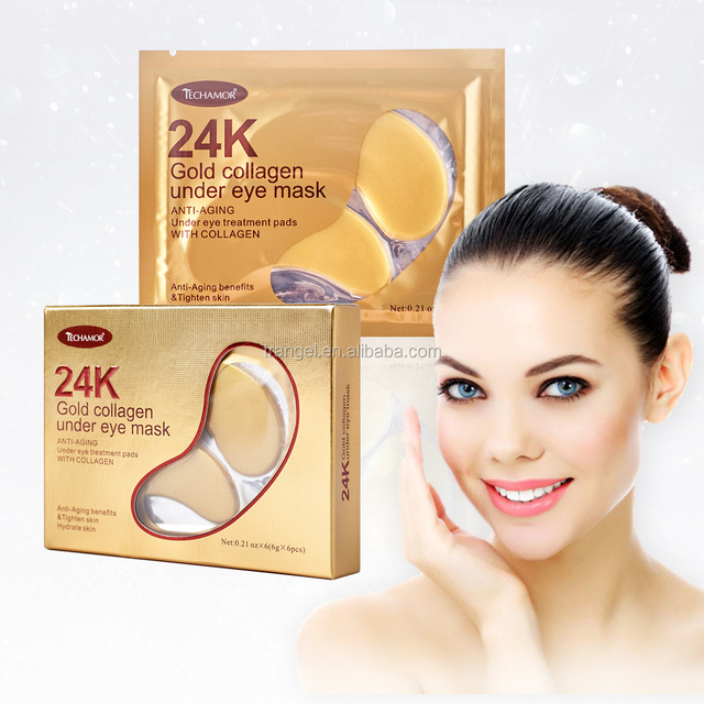 OEM private lable wrinkle smoothing 24k gold powder crystal hyaluronic acid collagen eye mask