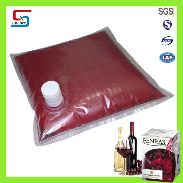 Safe packaging clear bag in box for grape wine plastic packaging