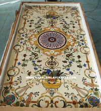 Marquetry White Marble Pietra Dura Dining Table Top, Home Decorative Marble Table