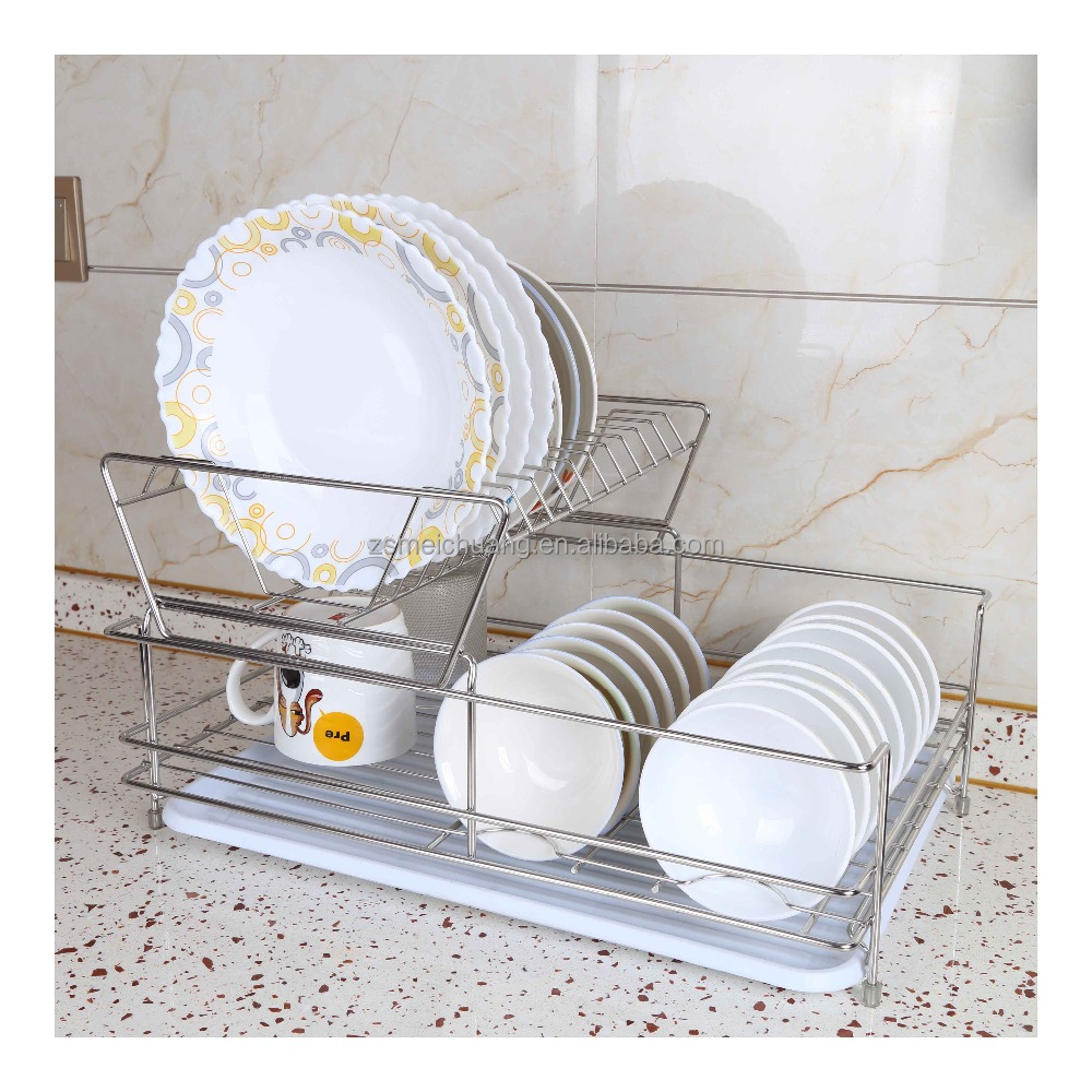 Stainless steel 2 tier dish drainer rack