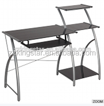 High Quality Glass top metal frame Computer Desk furniture