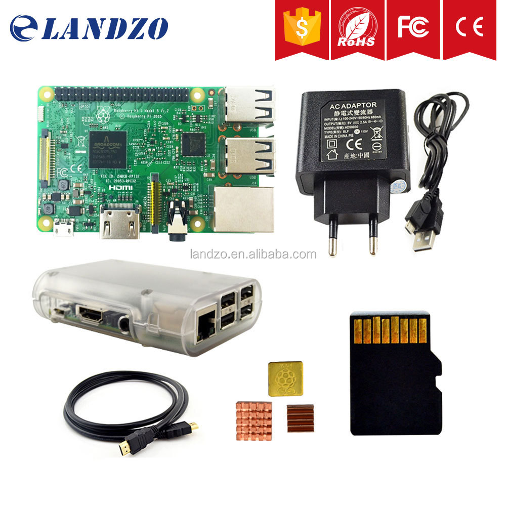 Hot sellRaspberry Pi 3 Starter Kit with Pi 3 Board+16G memory card+HDMI cable+EU Power+Heatsinks+Transparent Raspberry pi 3 case