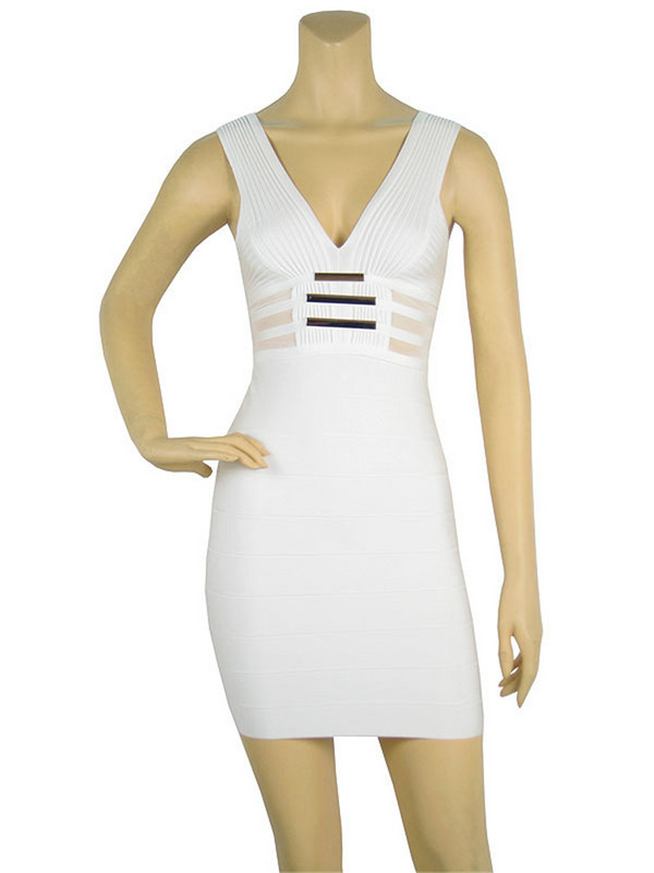 High quality Andrea signature basic white sexy tight bandage dress deep v-neck wholesale fast drop shipping