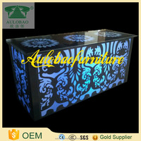 Modern design led light changing reception counter used carved reception counter