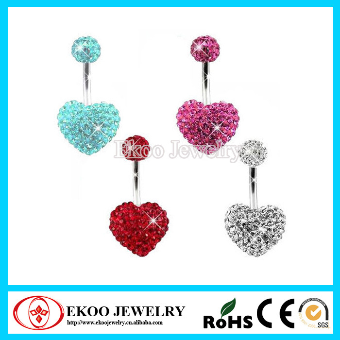 316L Surgical Steel Multi Crystal Heart Ferido Shamballa Belly Button Ring