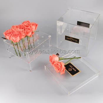 Wholesale transperant acrylic flower box with lid