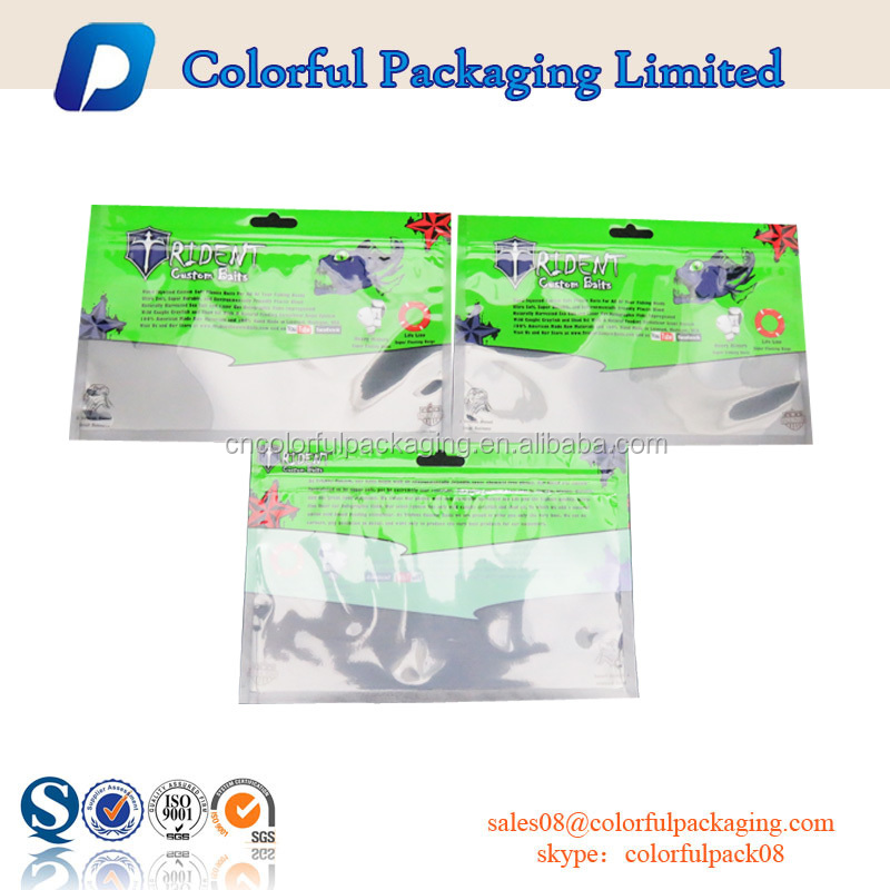 Wholesale fishing lure bag plastic zipper bag customized soft plastic bait bags for fishing worm