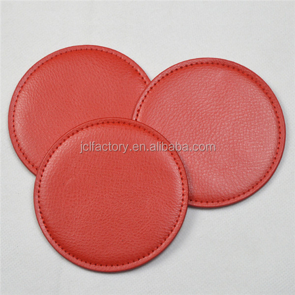 red color pu embossed leather coaster with custom logo