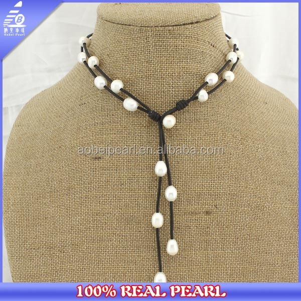 Handmade Freshwater Pearl and Leather Jewelry Costume Choker Necklace for women