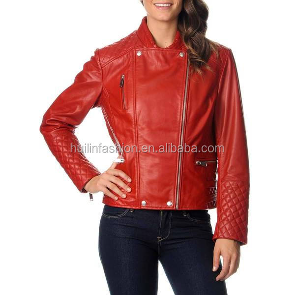 2014 hot sale womens new fashion red motorcycle leather jacket