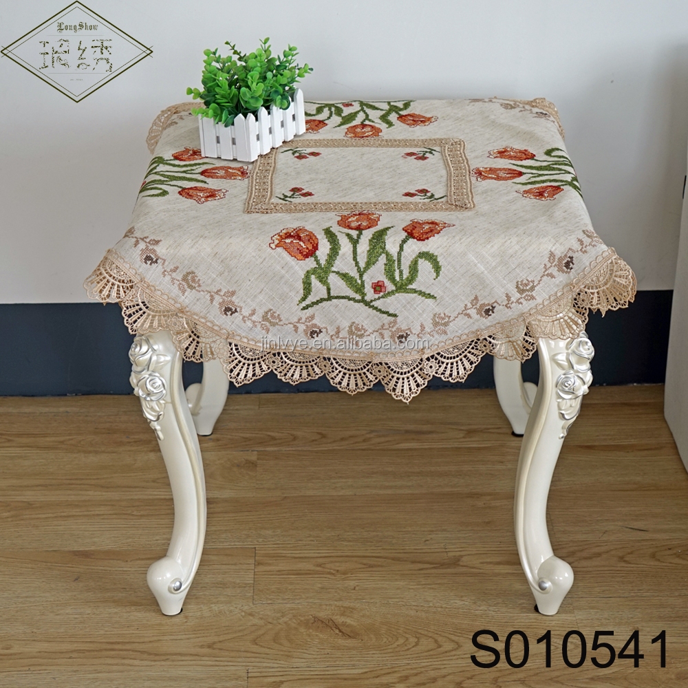 Linen Fabric Decorated With Cross Stitch Embroidered Tulip Pattern Round Linen Embroidery Tablecloth