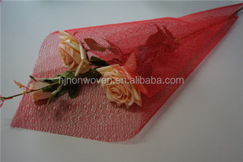 chinese red flower wraps mesh