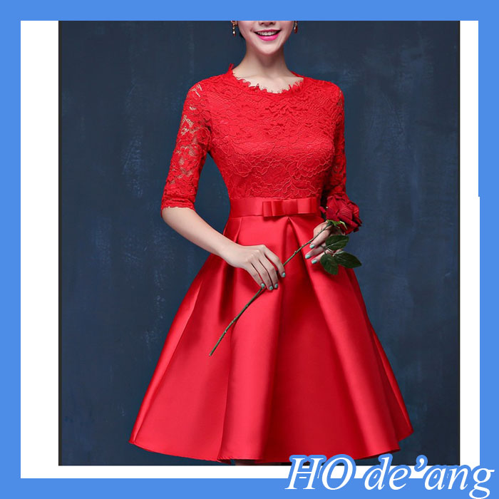 lace dress Sleeve fashion wedding dress,red cocktail evening dress,Waist princess dress
