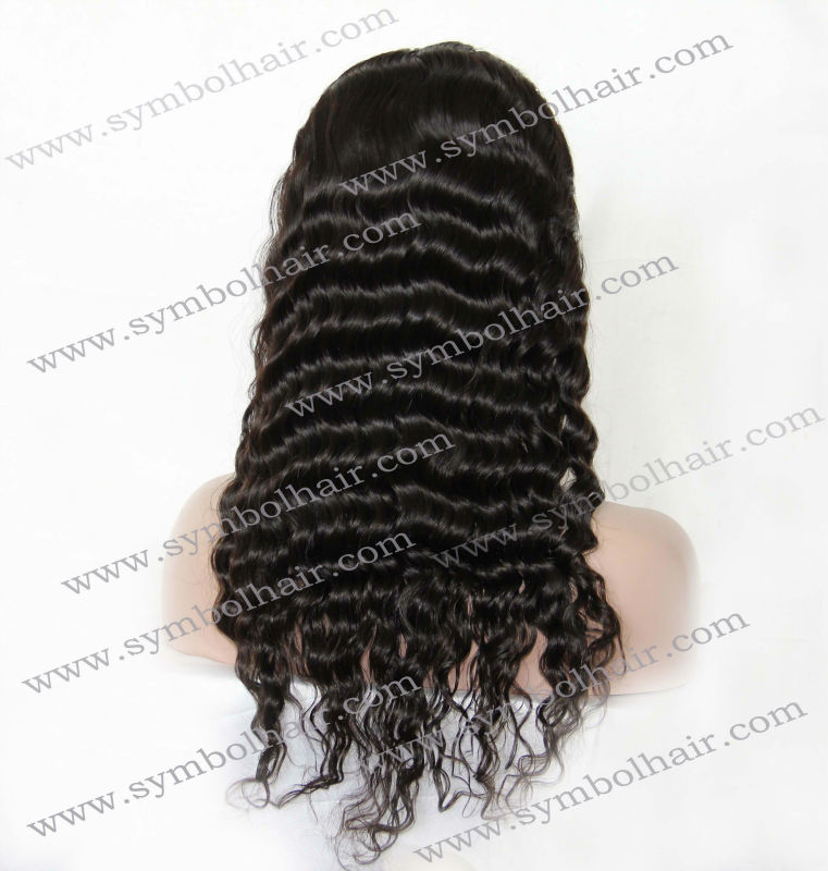 Wet and wavy /deep wave Brazilian human hair full lace wig