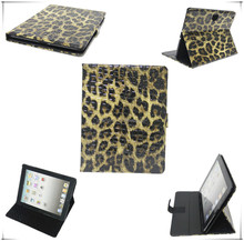 Luxury standing leather case for ipad air2,Leopard case for iPad Air 2